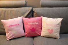 Kissen 35 x 35 cm für die Drillinge Johanna, Theresa und Helena. Selbstgenäht von www.karobluemchen.blogspot.de