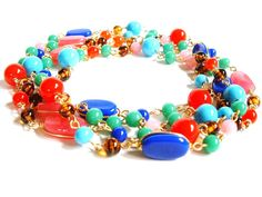 Vintage Bead Necklace Glass Gold Super Long Flapper Pink Blue Green Red Turquoise