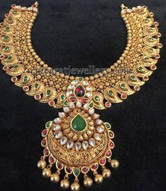 Heavy Antique Mango Necklace | Jewellery Designs