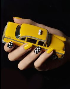Trendy American Manicure New York Mellow Yellow, Black N Yellow, Black And White, Color Yellow, New York Street, New York City, American Manicure, Nyc Nails, Go To New York