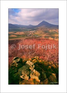 Fine Art Photography Print on a high-end photo paper - View from the Ostry Hill on Milesov and Milesovka Mountain, Ceske stredohori Mountains, Czech Republic