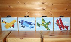 Airplane's for J's room? Original art on stretched canvas