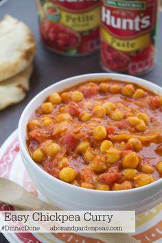 Easy Kid-friendly Chickpea Curry with Sweet Potatoes #DinnerDone @Hunt's Tomatoes #vegetarian #recipes via www.abcsandgardenpeas.com
