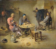 1-Abraham Diepraam. La Buvette. Interior of an inn with two smoking, drinking and singing men at the table. On the flour a stoneware jug. Towards the background two figures are standing beside the fire place, one holding a glass, the other a pipe. Genre works. 1665.- Huile sur toile 46 X 55 cm. Rijksmuseum Amsterdam. Place of action: Northern Netherlands.