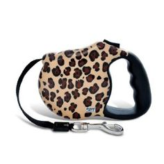 Leopard print retractable dog leash