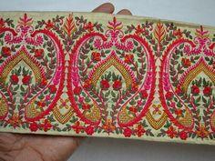 Impartial Vintage Sari Border Antique Hand Embroidered Indian Trim Sewing Orange Lace Trims