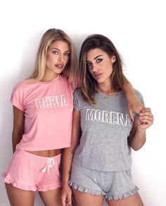 Cute Lazy Outfits, Short Outfits, Girl Outfits, Cute Pjs, Cute Pajamas, Pijamas Women, Matching Pjs, Cute Sleepwear, Loungewear