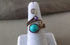 Blue Howlite and Amethyst Ring - Wire Wrapped Spiral Gemstone Ring with Amethyst and Blue Howlite on Antique Brass Wire by PowerstoneJewelry1 on Etsy