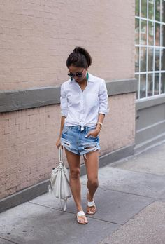 """Browse the best denim short outfit inspiration and products at @Stylecaster 