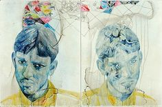 belinda fox Title: Protector, Medium: Watercolour, drawing on board. Size: 60 x Sketchbook Inspiration, Art Sketchbook, Portrait Art, Portraits, Notebook Art, Drawing Sketches, Drawings, Abstract Nature, Glitch Art