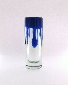 Skrdlovice Jaroslav Svoboda 7302 -- 'leaky paint'  vase -- Czech art glass.