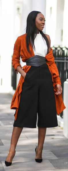 Rust Cardigan and Culottes