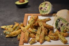 Homemade fries, triple fried, tossed with Parmesan, wild garlic and Maldon sea salt and a wrap with Caesar Salad with a homemade dressing Homemade Fries, Homemade Food, Hand Cut Fries, Wild Garlic, Homemade Dressing, Caesar Salad, Tossed, Sea Salt, Parmesan