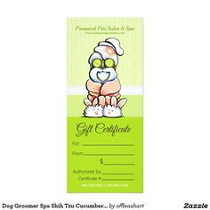 Pet groomer spa dogs cat robes pink appointment business card dog groomer spa shih tzu cucumber gift certificate 4x925 paper invitation card yelopaper Gallery
