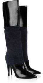 Pierre HardyGlossed leather and suede knee boots
