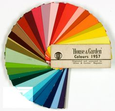 1957 House & Garden magazine. strong, bright tones of the paint chart are very different to the autumnal colours that were popular in the 1930s – 40s.
