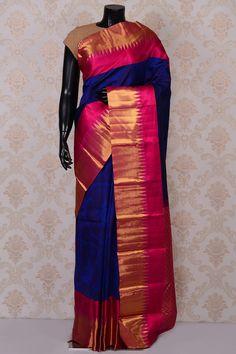 #Blue bright #kanchipuram silk #saree with pink border-SR18647 -#PURE KANCHIPURAM SILK SAREE #Sarees