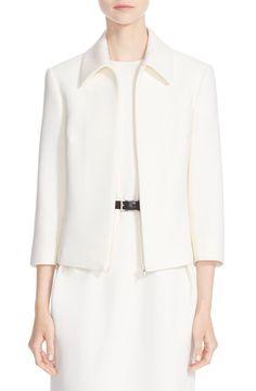 Michael Kors Michael KorsBouclé Crepe Zip Jacket available at #Nordstrom