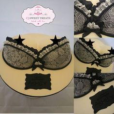 Carlie Taylor from CJ Sweet Treats in Melbourne, made this amazing cake all edible - using Sugarveil mats and sugarveil - the most incredible edible bra I have seen ; Bikini Cake, Bra Cake, Corset Cake, Breast Cancer Cake, Lingerie Cake, Sugar Veil, Henna Cake, 40th Birthday Cakes, Sugar Cake