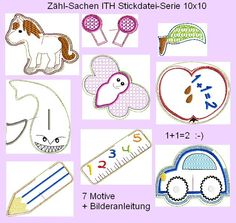"""""""Zähl-Sachen""""  Stickdatei-Serie 10x10 von Mausland-kreativ auf DaWanda.com"""