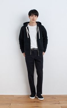 MUJI | OGC UNEVEN YARN FRENCH TERRY DOUBLE ZIP HOODY | OGC UNEVEN YARN L/S T SHIRT | OGC STRETCH CHINO SLIM TROUSERS | TANNED LEATHER HAND DYEING BELT | BRUSHED SLIP-ON SNEAKERS