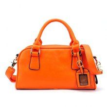 Trendy Casual Laconic Candy Color PU and Metal Design Women's Tote Bag