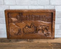 Vintage carved panel. Horse carriage. Country cottage. Dog.