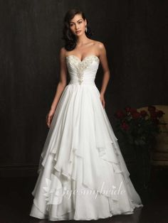 chiffon beaded sweetheart a-line asymmetrical layered skirt wedding gown!! I found it at a great price :)) at yesmybride.