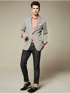 #BananaRepublic Men's - Spring  Grey Blazer with Raw denim, Brown shoes and Gingham Shirt