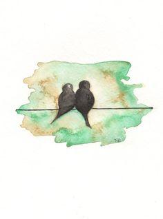 I  truly love bird art!  So sweet are these Love Birds. $14.00