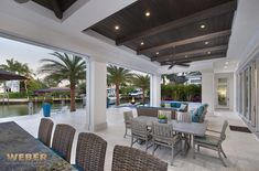 Transitional West Indies style lanai, outdoor sitting area with pool. West Indies Decor, West Indies Style, British West Indies, Lanai Design, Patio Design, Florida Pool, Caribbean Homes, House Plans With Photos, Outdoor Living Areas