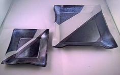 Black White and Blue Ceramic Push Plates by LailiBugStudio on Etsy