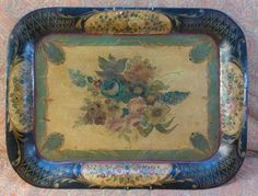 Antique Old Toleware Shabby Tole Painted Tin Metal Chic Serving Tray Platter #Antique #UnknownMaker