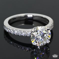 "2.00ct A CUT ABOVE hearts and arrows Round Diamond set in ""5th Ave Pave"" Diamond Engagement Ring"
