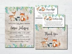 Rustic Woodland Animals Baby Shower Invitations   Boy and