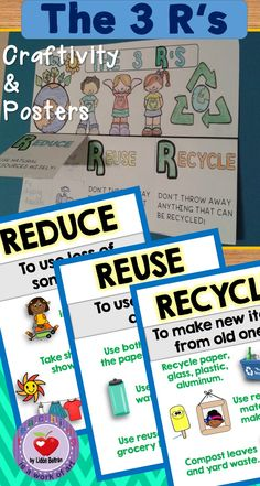 This set focuses on The Rs (Reduce,Reuse,Recycle). It includes: - 3 mini posters. Reduce Reuse Recycle, Ways To Recycle, Earth Day Activities, Book Activities, Science Resources, Nail Swag, The 3 Rs, Some Sentences, Recycling For Kids