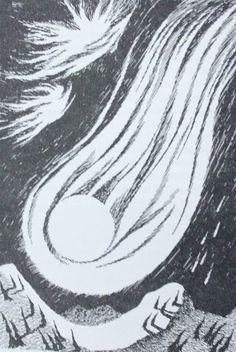"""""""Jyristen ja jyskyen pyrstötähti veti liekehtivän häntänsä läpi koko laakson, metsän ja yli vuoren ja syöksyi ulvoen edelleen avaruuteen."""" Muumipeikko ja pyrsötähti Tove Jansson, Angel Art, Abstract, Drawings, Artwork, Drawing Drawing, Summary, Work Of Art, Auguste Rodin Artwork"""