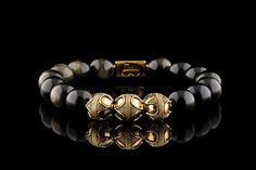 Premium Gold Gold-Sheen Obsidian Bracelet by Aurum Brothers