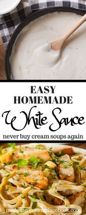 Cremesuppe Alternative: Weiße Soße Homemade White Sauce, White Sauce Recipes, White Pizza Sauce, White Sauce Pasta, White Sauce Enchiladas, Pasta Alternative, Soup Appetizers, Cream Of Chicken Soup