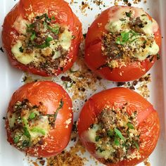 Sausage, Cheese, and Basil Stuffed Tomatoes