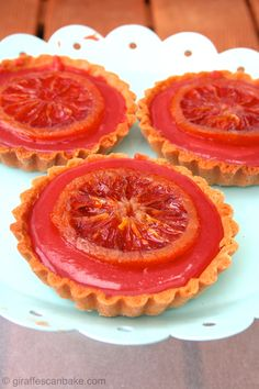 Sweet shortcrust pastry filled with sweet blood orange curd and candied blood…