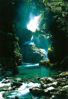 Hidden waterfall retreat, New Zealand