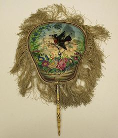 Fan Date: ca. 1870 Culture: American Medium: silk, glass, ivory Dimensions: Length: 20 in. cm) The Metropolitan Museum of Art Antique Fans, Vintage Fans, Vintage Antiques, Hand Held Fan, Hand Fans, Vintage Outfits, Vintage Fashion, Funky Fashion, 1870s Fashion