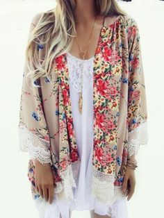Shop Khaki Floral Print Lace Hem Loose Kimono from choies.com .Free shipping Worldwide.$14.99