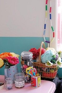 Details in a craft room. I love the colourful flowers and yarns