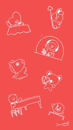 Love Yourself/Speak Yourself tour solos BTS Bangtan Shooky Chimmy RJ Koya Cooky Tata Mang Happy Wallpaper, Red Wallpaper, Galaxy Wallpaper, Wallpaper Quotes, Wallpaper Backgrounds, Iphone Wallpaper, Red Bedroom Decor, We Are Together, Line Friends