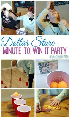 Dollar Store Minute to Win It Party - so much fun for a family fun night, party, holiday gathering, New Year's Eve, or youth group event. games Dollar Store Minute to Win It Party Kit, Ideas Party, Game Ideas, Fun Ideas, Fete Marie, Geek House, Family Fun Night, New Years Eve Party Ideas For Family, New Years Eve Games