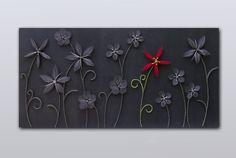 "String art flowers with acrylic painting, wall hanging, strings and nails art, ""Exception"""