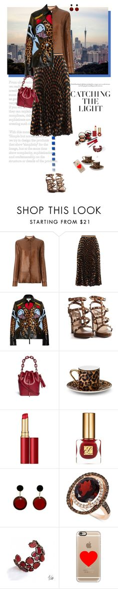 """""""leather jacket"""" by justirena ❤ liked on Polyvore featuring Emilio Pucci, Gucci, Mary Katrantzou, Valentino, Sophie Hulme, Asprey, Three Custom Color, Pupa, Estée Lauder and Marni"""