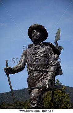 Prospector Statue Pioneer Home Sitka Southeast Alaska - Stock Image